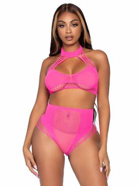 LA81632, Zig Zag Net Top and Skirt Set Color Neon Pink By Leg Avenue