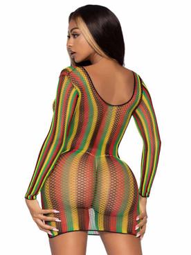 Leg Avenue | LA86959, Net Long Sleeve Mini Dress Back View