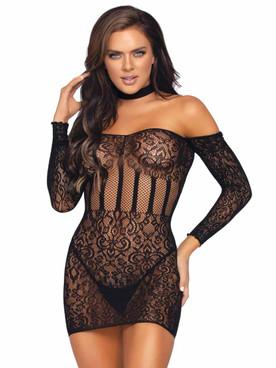 LA86966, Lace Halter Mini Dress  By Leg Avenue