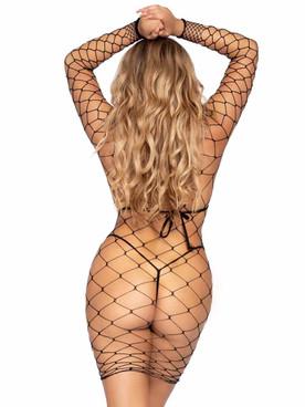 Leg Avenue | LA86968, Fence Net Mini Dress Back View