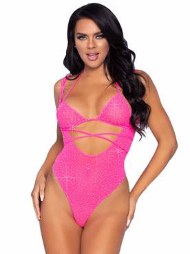 LA89284, Rhinestones Suspender Hot Pink Bodysuit By Leg Avenue