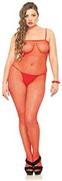 Leg Avenue | LA-8670Q, Plus Size Red Fishnet BodyStocking