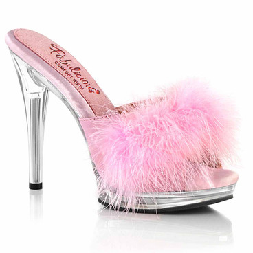 """GLORY-501F-8, 5"""" Comfort Width Baby Pink Marabou Slipper By Fabulicious"""