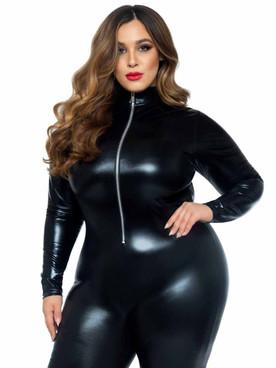 LA-85047X, Plus Size Wet Look Zipper Catsuit By Leg Avenue