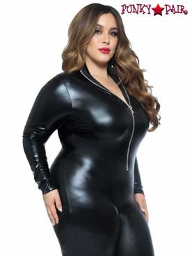 Leg Avenue | LA-85047X, Plus Size Wet Look Zipper Catsuit