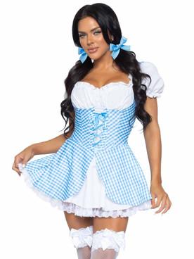 LA86988, Gingham Dress with Split Skirt By Leg Avenue