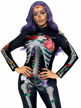 LA87066, Floral Skeleton Catsuit By Leg Avenue