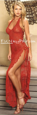 Leg Avenue | LA-88009, Rose Lace long dress color Red Funkypair