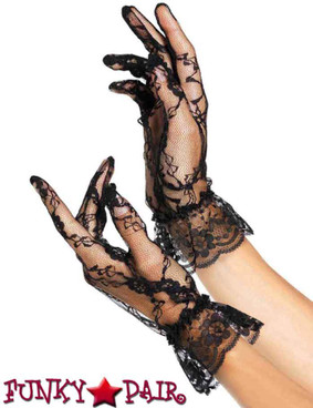 Black Lace Gloves with Ruffle | Leg Avenue LA-G1260