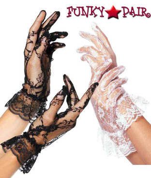 Lace Gloves with Ruffle | Leg Avenue LA-G1260 color black or white