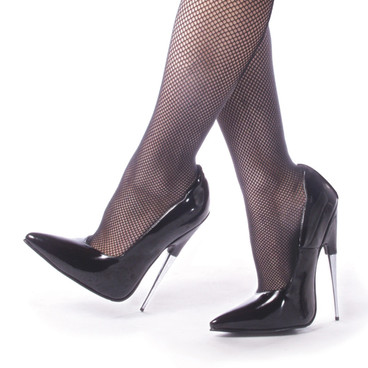 6 Inch Metal Stiletto Black Fetish Shoes Devious | SCREAM-01BP