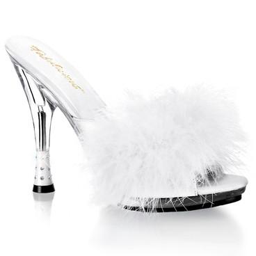 "White 4.75"" Rhinestone-Embossed Cone Heel Marabou Slipper Fabulicious | GLITZY-501-8,"