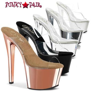"""Pleaser SKY-302, 7"""" Double Strap Dancer Heel"""