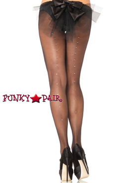 Black Plus size Rhinestone Backseam Pantyhose (9909Q)