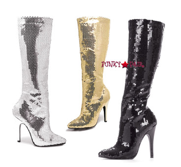 "Ellie Shoes | 511-Tin 5"" Sequins Knee High Boot"