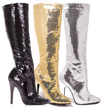 "5"" Sequins Knee High Boot Ellie Shoes 