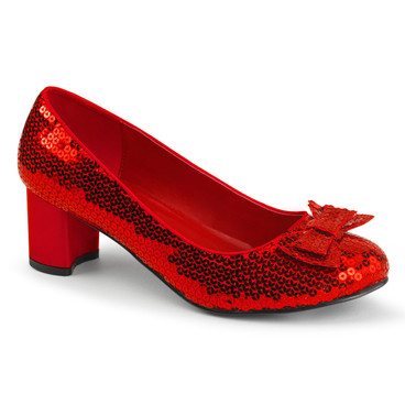 DOROTHY-01, Red Sequin Shoes by Funtasma