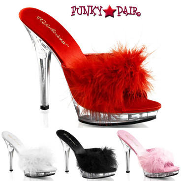 "Pleaser  LIP-101-8, 5"" Stiletto Heel Marabou Slipper"