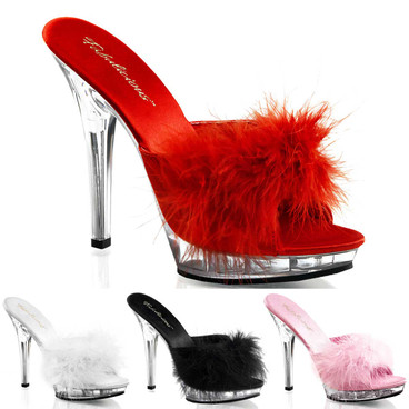 "LIP-101-8, 5"" Stiletto Heel Marabou Slipper by Fabulicious"