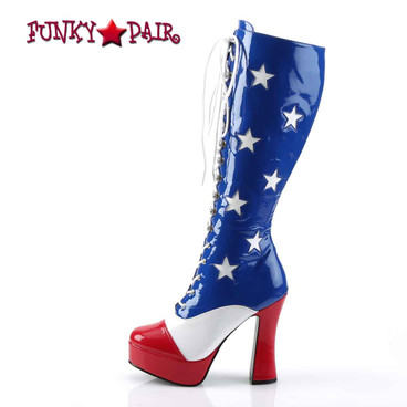 Pleaser | ELECTRA-2030, Women's Patriotic Red/white/Blue Boot