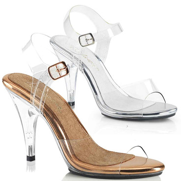 """CARESS-408, 4"""" Clear Strap Sandal by Pleaser"""
