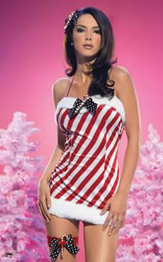 LA-83270, Sexy Christmas Stripe Mini Dress Costume