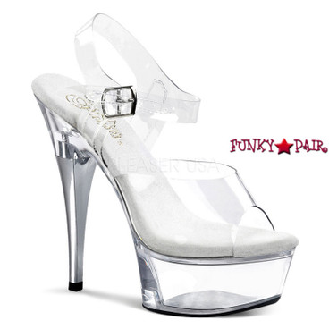 CAPTIVA-608, 6 Inch High Heel with 1.75 Inch Platform Clear Ankle Strap with A Line Rhinestones on Heel