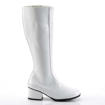 White 2 Inch Heel GoGo Boots 1960s