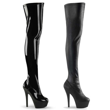 Pleaser | KISS-3000, 6 Inch Heel Stretch Thigh high boots