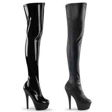 Pleaser | KISS-3000, 6 Inch Heel Stretch Thigh high boots
