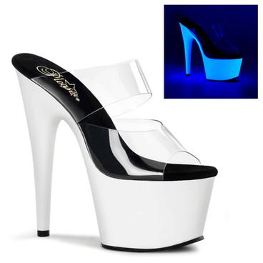 "ADORE-702UV, 7"" UV Platform Neon Stripper Shoes by Pleaser"