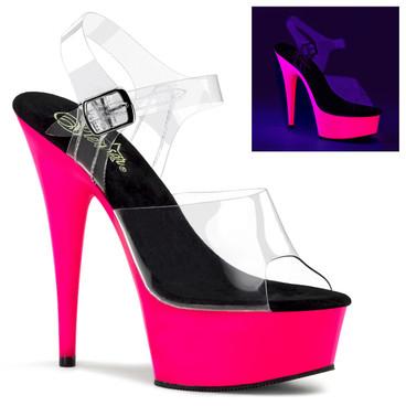 Pleaser | DELIGHT-608UV, Platform UV Sandal Neon Pink