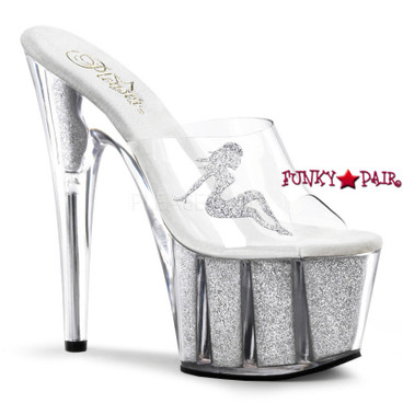 ADORE-701-4, 7 Inch Stiletto Glitter filled bottom Sandal with Truckgirl Color Clear clear Silver