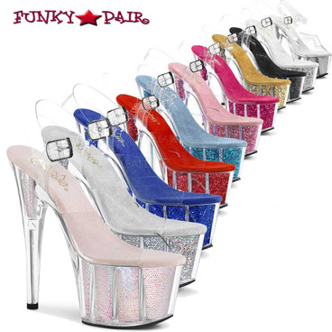 Pleaser   ADORE-708G, Sexy Shoes with Ankle Strap Glitter Filled Bottom