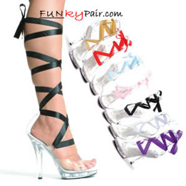 M-Bella, 5 Inch Stiletto High Heel Sandal w/Interchangeable Ribbon Made by ELLIE Shoes
