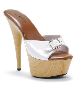 609-Barbara, 6 Inch Stiletto High Heel with 1.75 Inch Platform Sandal w/Buckle Made by ELLIE Shoes