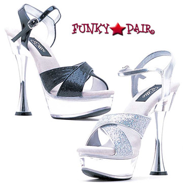 C-Janie, 6 Inch High Heel with 1.75 Inch Platform Silver Cone Heel Ankle Strap Platform Sandal w/Glitter Made by ELLIE Shoes