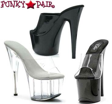 709-Vanity, 7 Inch Stilleto High Heel with 2.75 Inch Platform Sandal Slide Made By ELLIE Shoes