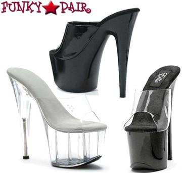 709-Vanity, 7 Inch Stilleto High Heel with 2.75 Inch Platform Sandal Slide Made By ELLIE Shoes