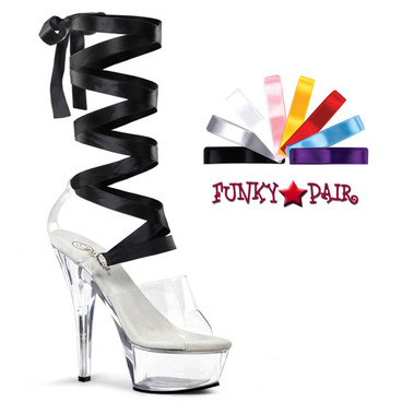 Pleaser | KISS-295, 6 Inch Interchangeable Lace-up Ribbon Sandal