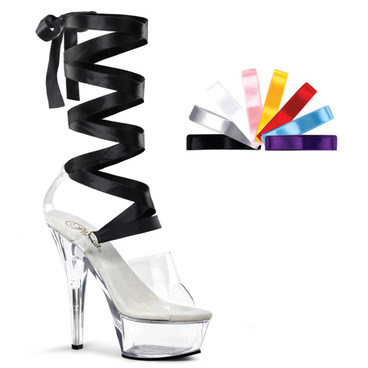 KISS-295, 6 Inch Interchangeable Lace-up Ribbon Sandal by Pleaser