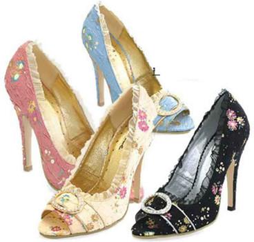 ELLIE Shoes  418-Tori, Peep Toe Victorian Costume Pump
