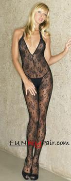 Rose Lace Halter BodyStocking