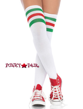 White/Red/Green Athletic Stockings with Stripes Top | Leg Avenue (6605)