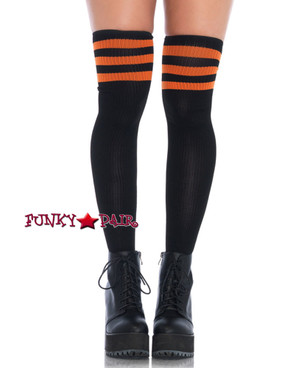 Black/Orange Athletic Stockings with Stripes Top | Leg Avenue (6605)