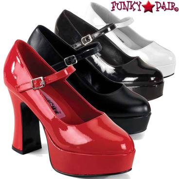 Pleaser MARYJANE-50, Chunky Platform Mary Jane Pump
