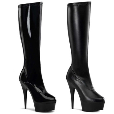 "DELIGHT-2000 6"" Heel Platform Stretch Knee High Boots by Pleaser USA"