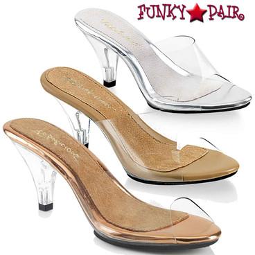 "Fabulicious   Belle-301, 3"" Clear Low Heel Slide"