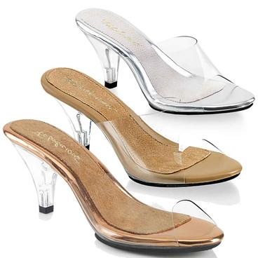 "3"" Clear Low Heel Slide Fabulicious   Belle-301"