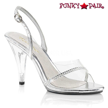 """Fabulicious   CARESS-456, 4"""" Clear Slingback Sandal with Rhinestones"""